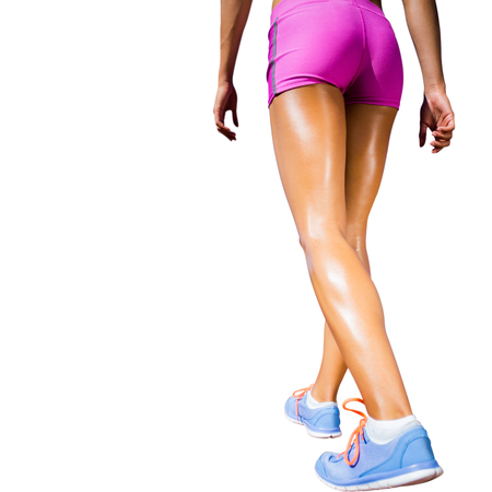 rear view: Rear view of sportswoman legs with sweat on a white background Stock Photo