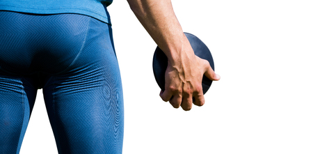 discus: Rear view of sportsman holding a discus on a white background Stock Photo