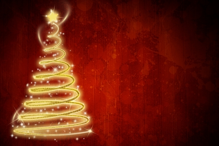 composite image: Composite image of digital Christmas tree against a red background Stock Photo