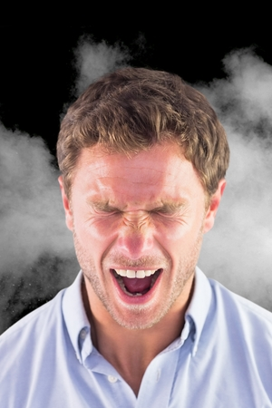 composite image: Composite image of angry businessman is screaming against black background with smoke