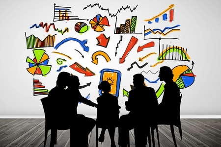 composite image: Composite image of businesspeople during a meeting in front of financial doodles drawing on the wall