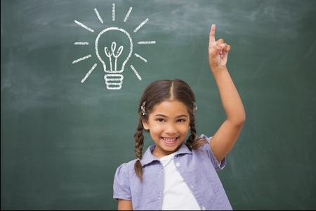 Composite image of cute girl is raising her finger in front of a chalkboard