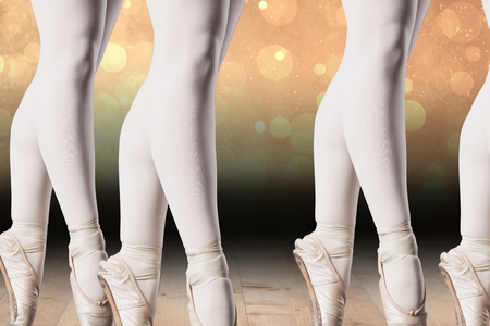 composite image: Composite image of ballerinas lags on a stage