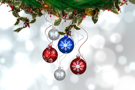 composite image: Composite image of Christmas ornaments against a blurred background
