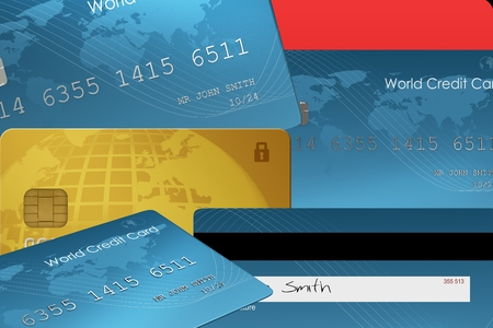 composite image: Composite image of credit card stacked