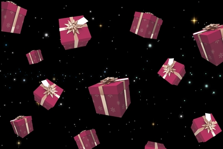 composite image: Composite image of gifts in the space
