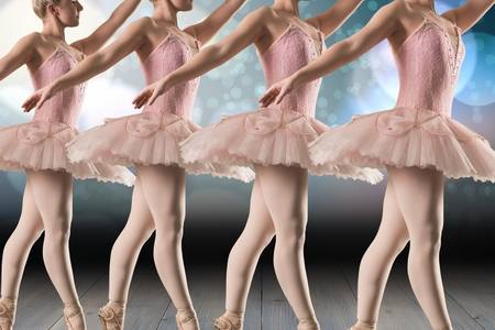 composite image: Composite image of ballerinas are dancing on a stage Stock Photo