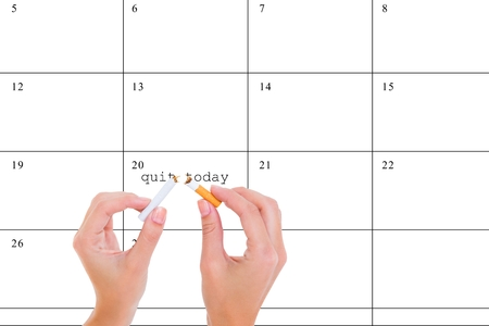 composite image: Composite image of tobacco prevention against a timetable background Stock Photo