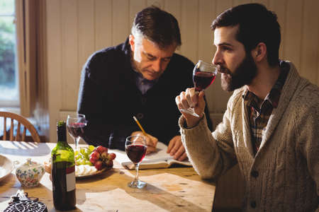 tomando refresco: Hipster and mature man tasting red wine and taking notes in country house