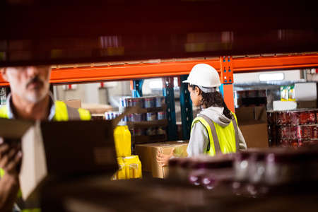 tidying: Workers warehouse tidying the shelves in a warehouse LANG_EVOIMAGES