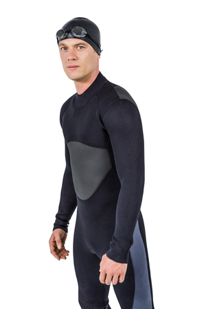 wetsuit: Portrait of confident swimmer in wetsuit on white background