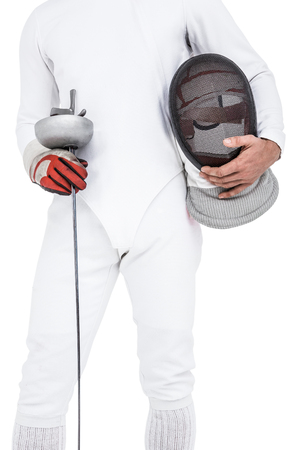 fencing sword: Swordsman holding fencing mask and sword on white background