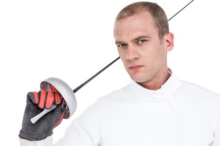 fencing sword: Portrait of swordsman holding fencing sword on white background