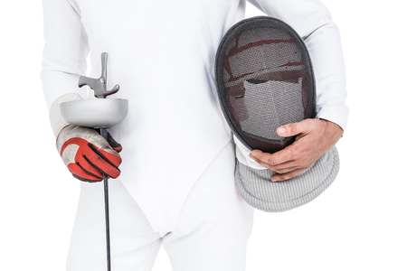 swordsman: Swordsman holding fencing mask and sword on white background
