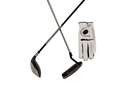 cut the competition: Golf club and glove on isolated white background