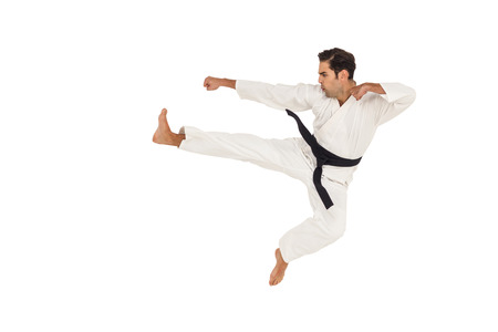 stance: Fighter performing karate stance on white background Stock Photo