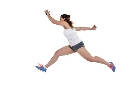 cut the competition: Athlete woman running on isolated white background Stock Photo