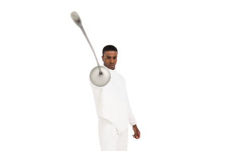 fencing sword: Portrait of swordsman practicing with fencing sword on white background