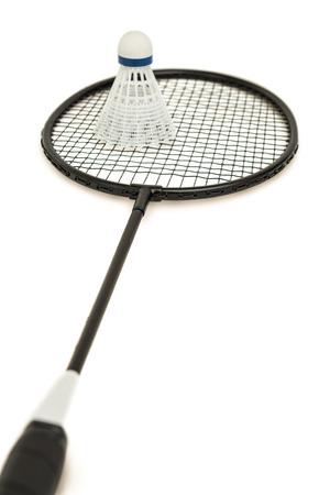badminton racket: Badminton racket with feather shuttlecock on isolated white background