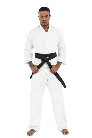 tightening: Portrait of fighter tightening karate belt on white background Stock Photo