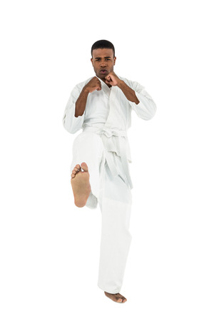 punched out: Portrait of fighter performing karate stance on white background
