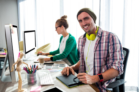 coworkers: Coworkers on computer in office