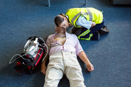 cardiopulmonary resuscitation: Female paramedic during cardiopulmonary resuscitation training in hospital
