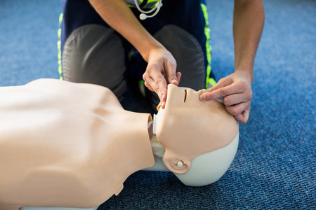 chest compression: Paramedic during cardiopulmonary resuscitation training in hospital