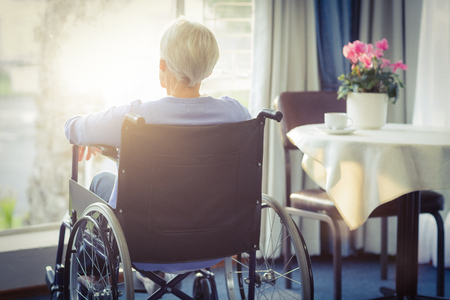 Rear view of senior woman senior woman sitting on wheelchair at home