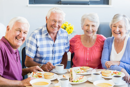 Seniors having lunch together in a retirement home Stock Photo