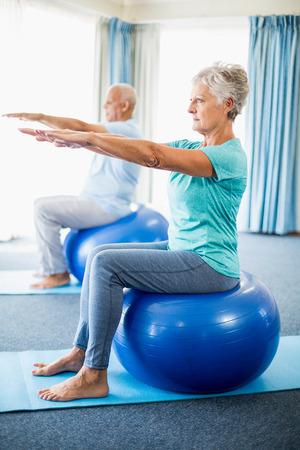 sheltered accommodation: Seniors using exercise ball in a studio