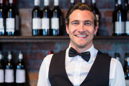 bartending: Portrait of happy bartender standing at bar counter