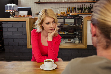 difficulties: Couple having relationship difficulties in the cafe Stock Photo