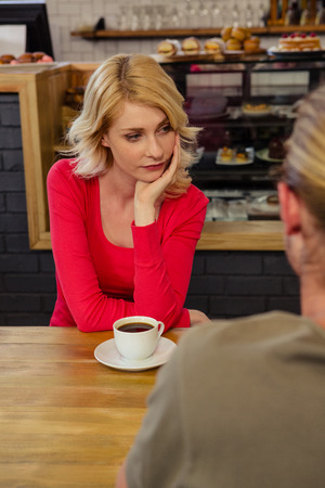 relationship difficulties: Couple having relationship difficulties in the cafe Stock Photo