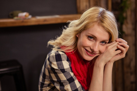 cafeteria: Portrait of beautiful young woman in cafeteria Stock Photo