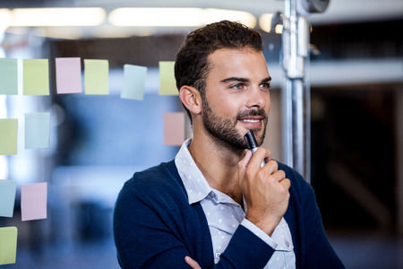 Businessman smiling and reflecting in the start-up