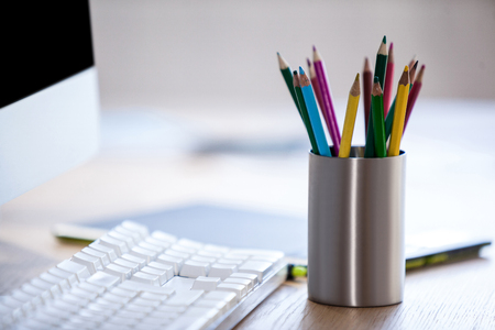 bureau: Close up of pencil holder on a bureau Stock Photo