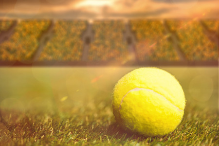 spectators: Close up of tennis ball on the grass against terraces with spectators