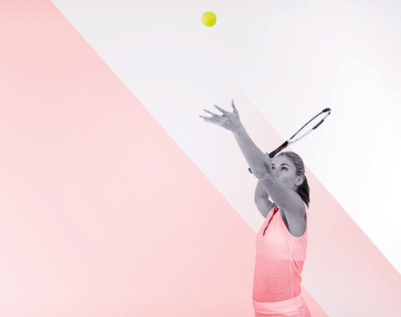 tournament of roses: Athlete serving with her tennis racket on a multicoloured background Stock Photo