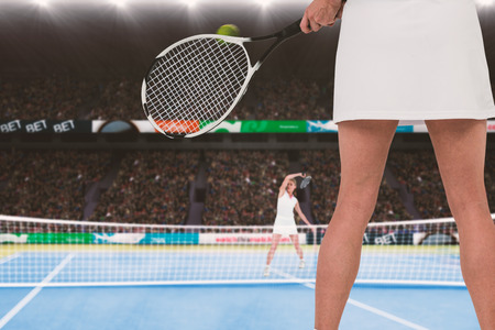 opponent: Athlete playing tennis against an opponent Stock Photo