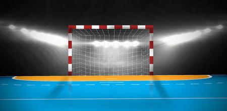Samengesteld beeld van een handbal doel in een sporthal Stockfoto