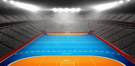 Imagen compuesta del campo de balonmano en un estadio cubierto
