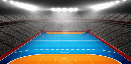 terrain de handball: Image composite de terrain de handball dans un stade couvert