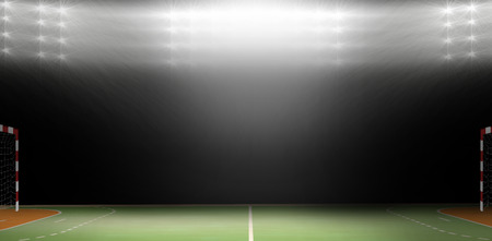 sports hall: Composite image of a handball goal in a sports hall