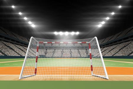 terrain de handball: Image de terrain de handball avec les spectateurs