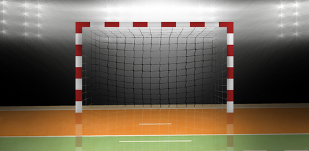 Samengesteld beeld van een handbal doel in een sporthal