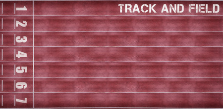overhead view: Track and field message on a white background against overhead view of race track