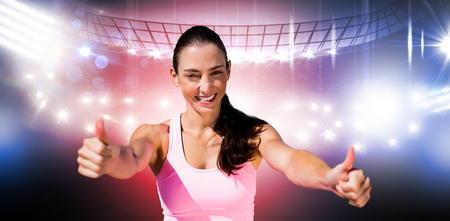 sportswoman: Portrait of sportswoman is smiling with thumbs up