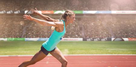 La deportista de terminar su ejecuta en vista de un estadio