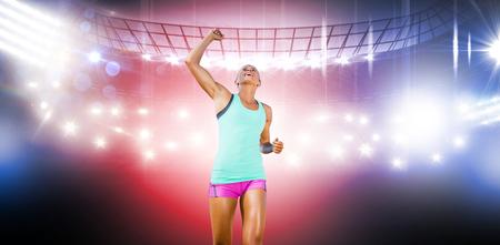 winning pitch: Sportswoman celebrating her victory